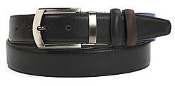 Мужской классический двухсторонний ремень из качественного заменителя кожи 3.5 см (104226) черный/коричневый
