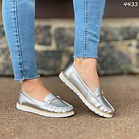 Женские белые и серебрянные кожаные балетки с декором n-8326OB