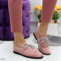 Женские туфли на низком ходу из экозамши с перфорацией на шнуровке n-8354OB