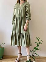 Платье льняное хаки DRS2x3 L, фото 1