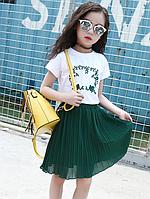 Літній комплект для дівчинки / Летний комплект для девочки, футболка и шифоновая юбка, плиссированные юбки