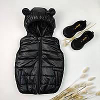 Теплая жилетка на мальчика оптом 86-122 (7шт) черная жилетка
