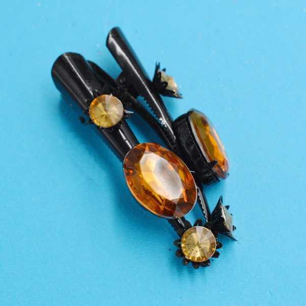 Шпильки для волосся стріли, чорний метал, стрази, (6 шт)