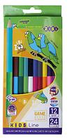 ОЛІВЦІ КОЛЬОРОВІ ZiBi  Double, 12 шт. (24 кольорів), KIDS LINE