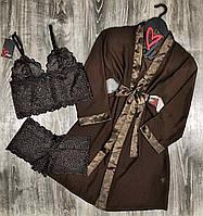 Коричневый комплект домашней одежды халат+кружевной комплект топ и трусы-шорты.