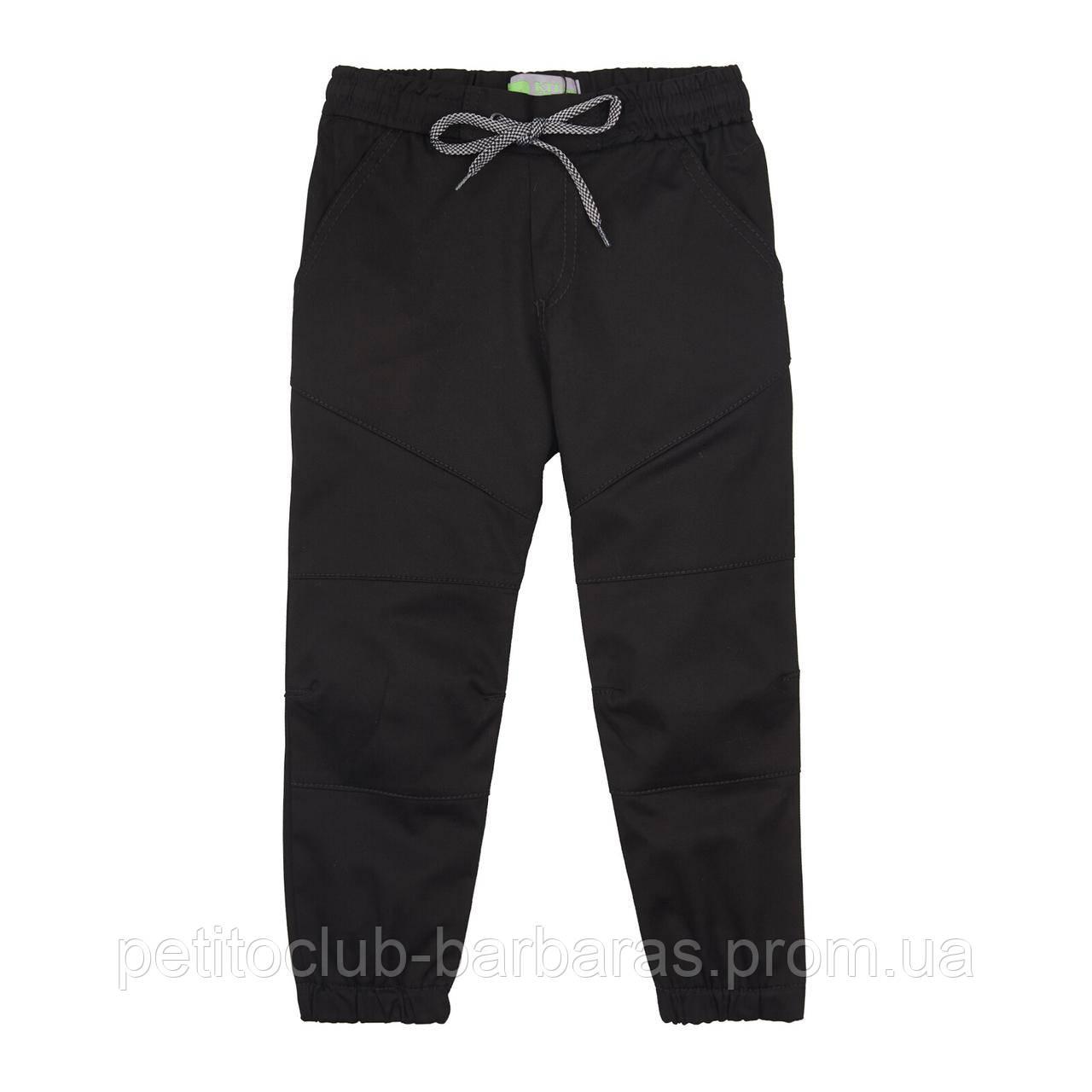 Детские летние хлопковые брюки джоггеры для мальчика черные (р.98-116 см) (KIT-Lime, Украина)
