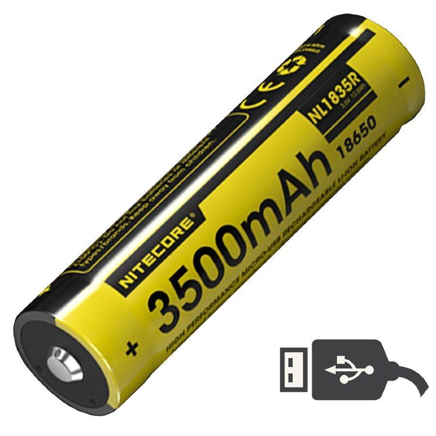 Акумулятор 18650 (3500mAh) Nitecore NL1835R, USB, захищений