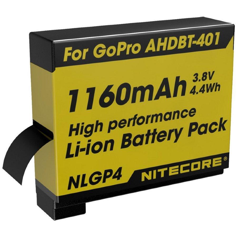 Літієвий акумулятор Li-Ion Nitecore NLGP4 для GoPro AHDBT-401 3.7 V 1160mAh