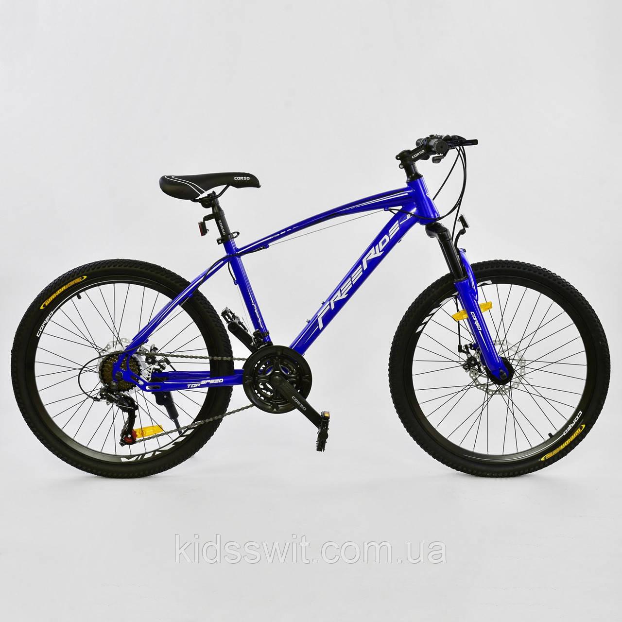 """Велосипед Спортивный CORSO Free Ride 24""""дюйма BLUE-WHITE рама металлическая 13``, 21 скорость, 0012 - 9057"""