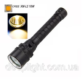 Подводный фонарь Deeplight с жёлтым светом на Cree XM-L2 10W под 18650