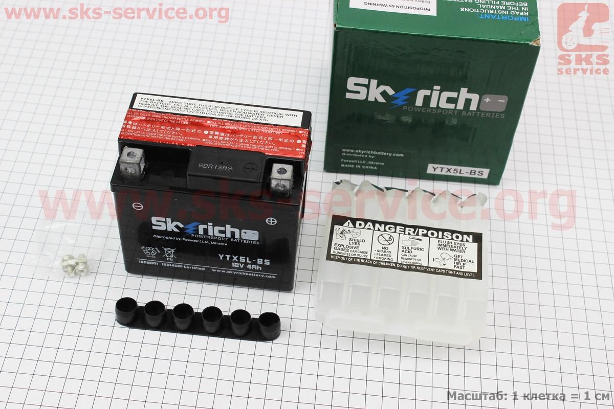 Аккумулятор 5(4)Аh YTX5L-BS кислотный (L113*W70*H105mm)