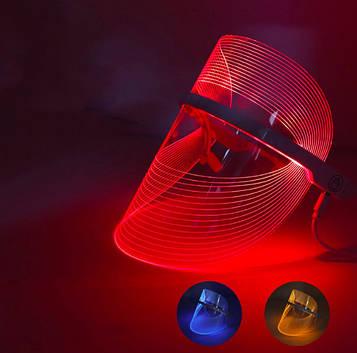 Косметологическая LED маска для лица, фотодинамическая 3 цвета