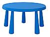 Круглый синий пластиковый детский стол (для улиц и помещения)
