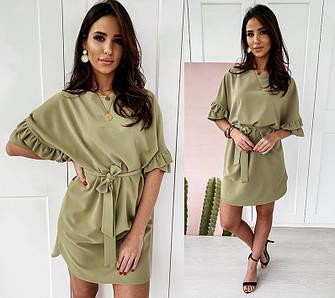 Платье летнее легкое свободное с рюшами с поясом мини короткое оливковое персиковое беж