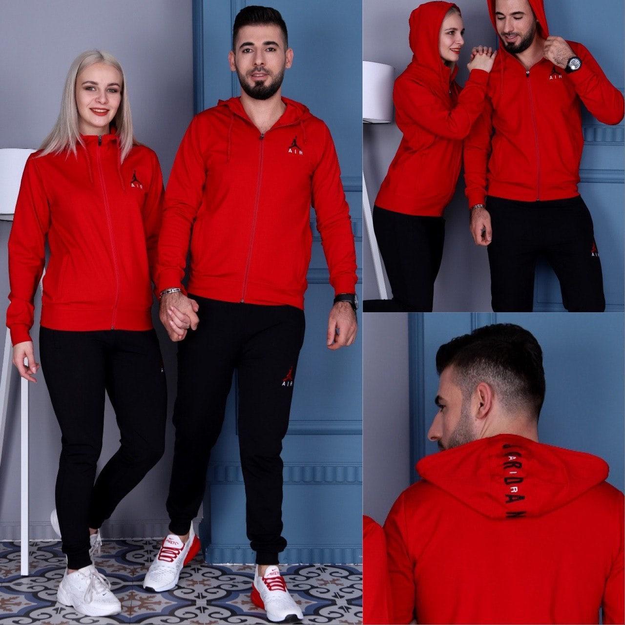 Стильный костюм мужской и женский красный