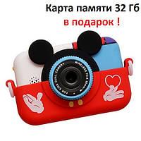 Фотоаппарат детский цифровой 28 Мп Mickey Mouse с 2 камерами синий красный, розовый, желтый