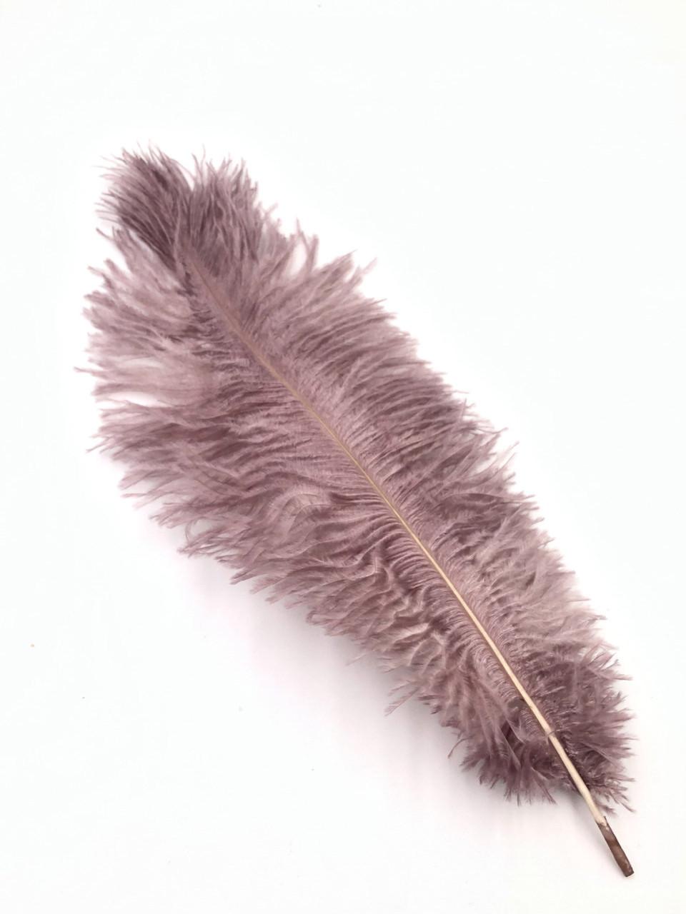 Перо страуса 30 - 35 см Пудровый