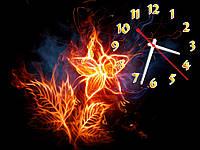 Часы настенные Светящийся цветок на черном 30х40 см
