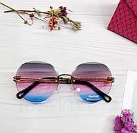 Женские солнцезащитные овальные очки с розово-голубым градиентом
