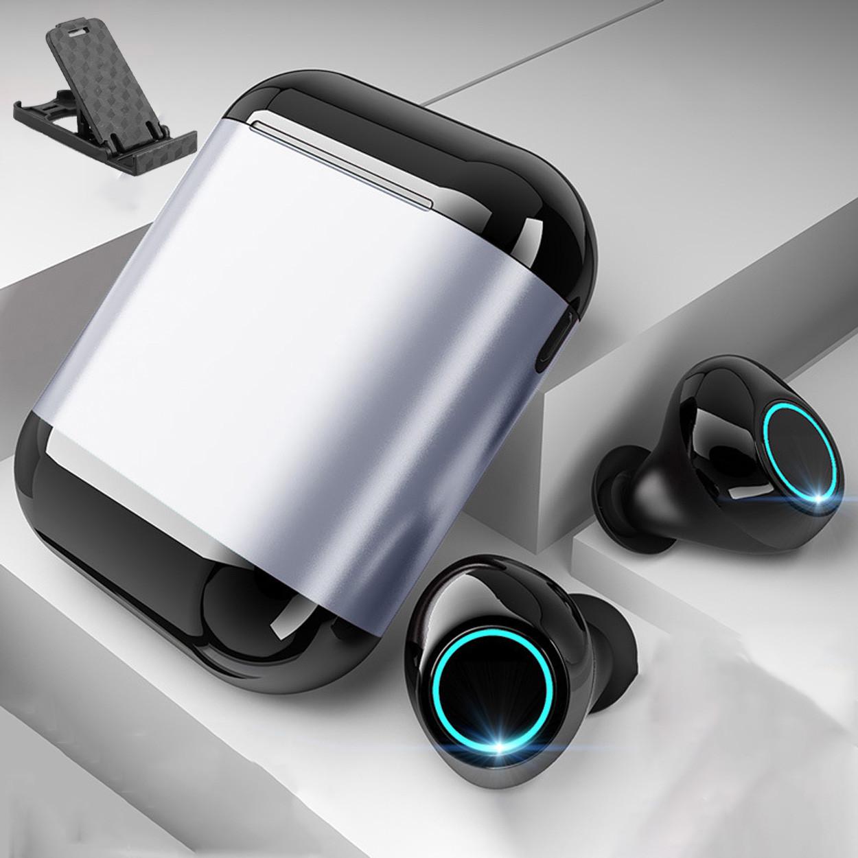 Беспроводные наушники Wi-pods S7 Bluetooth 5.0 водонепроницаемые с зарядным чехлом-кейсом. Металлик Оригинал