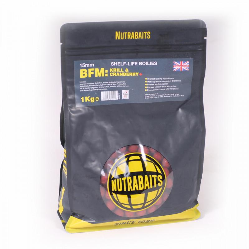 Бойлы Nutrabaits  BFM Krill & Cranberry (криль/клюква) 15mm 1kg