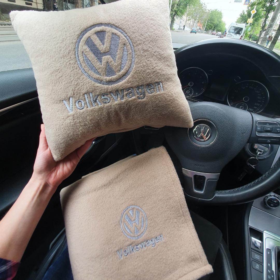 """Автомобильный набор: подушка и плед с логотипом """"Volkswagen"""" цвет на выбор"""