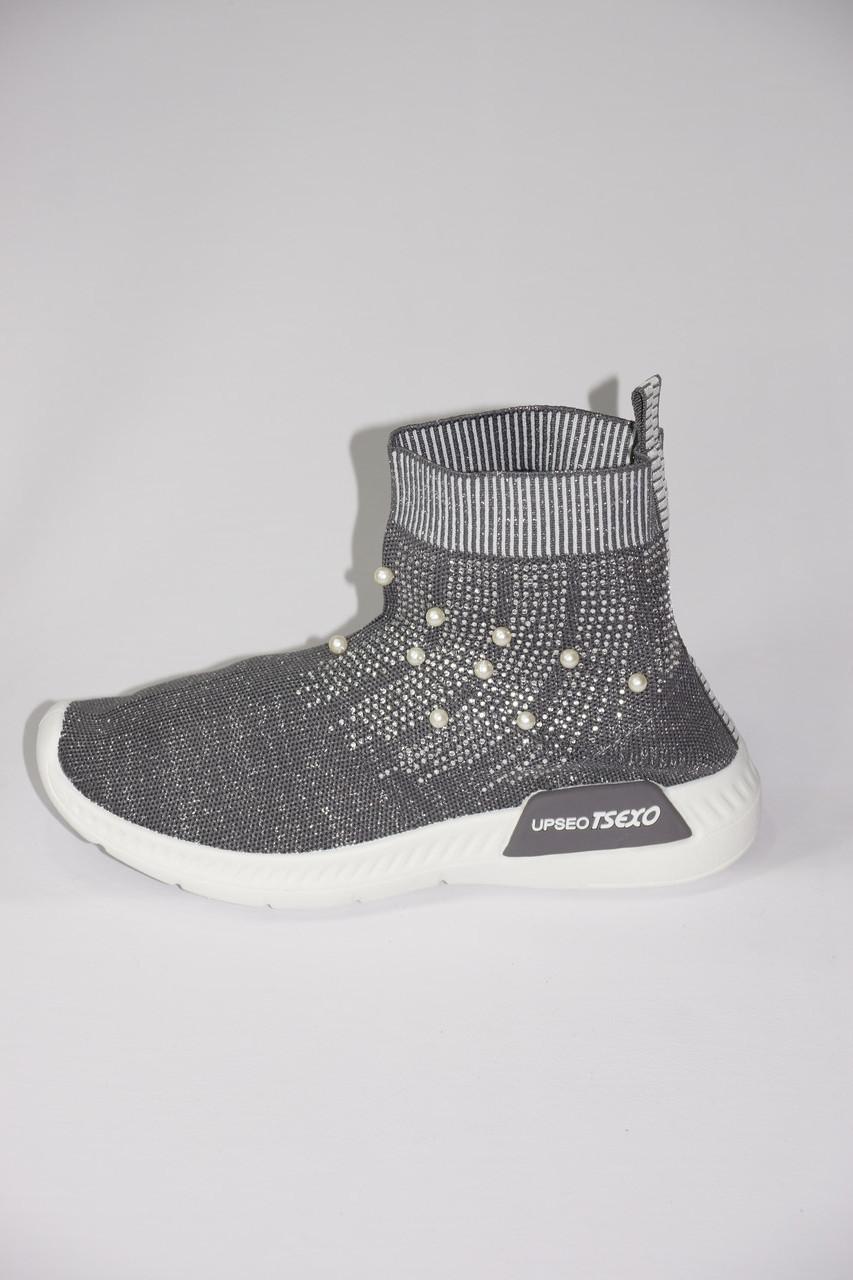 Стретчевые ботинки с жемчугом