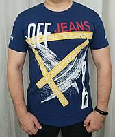 Мужская футболка темно синий цвет из хлопка с модным принтом.