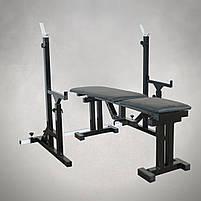 Лавка регульована для жима (до 300 кг) зі Стійками (до 200 кг). Штанги пряма та гантелі, фото 3