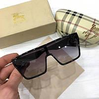 Женские солнцезащитные очки маска Burberry черные с градиентом, фото 1