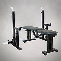 Лавка регульована для жима (до 300 кг) зі Стійками (до 250 кг). Штанги пряма, фото 3