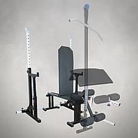 Лавка регульована для жима (до 300 кг) зі Стійками (до 250 кг). Штанги пряма, фото 4