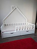 Детская кроватка домик с ящиками 160*80 (вход слева, крыша у стены)
