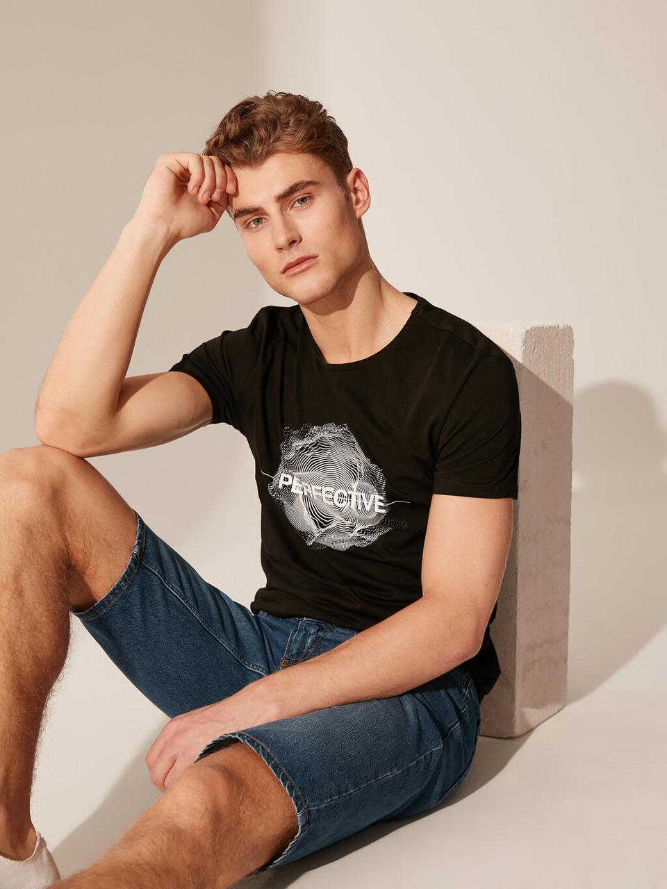 Черная мужская футболка Lc Waikiki / Лс Вайкики Perfective
