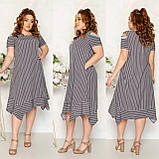 Платье летнее с ассиметричным кроем и открытыми плечами софт, разные цвета, р.52,54,56,58 код 115Й, фото 4