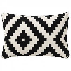 ЛЕППЛЬЮНГ РУТА Чехол на подушку, белый, черный, 40x65 см 00281892 ИКЕА, ІКЕА, LAPPLJUNG RUTA, фото 2