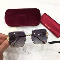 Женские квадратные солнцезащитные очки Gucci реплика черные, фото 1