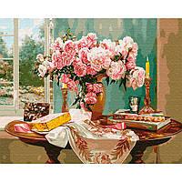 Картина раскраска по номерам на холсте - 40*50см BrushMe GX29110 Натюрморт со свечой и розами