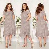 Платье летнее с ассиметричным кроем и открытыми плечами софт, разные цвета, р.52,54,56,58 код 115Й, фото 5