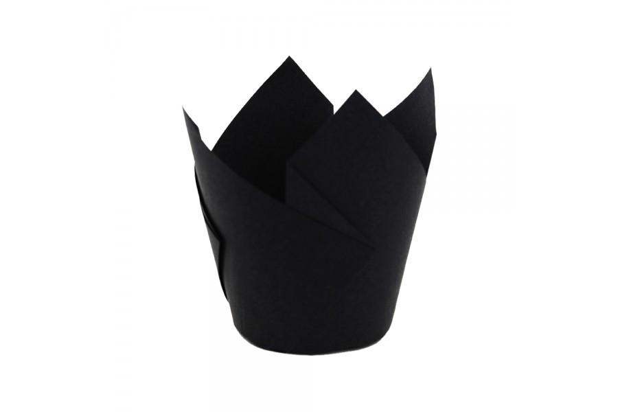 Тарталетки бумажные тюльпан черные (20 шт/уп)