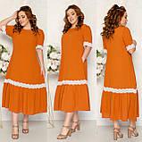 Платье летнее длинное больших размеров с карманами из тонкой ткани жатка, 5 цветов, р.52,54,56,58 код 125Й, фото 3