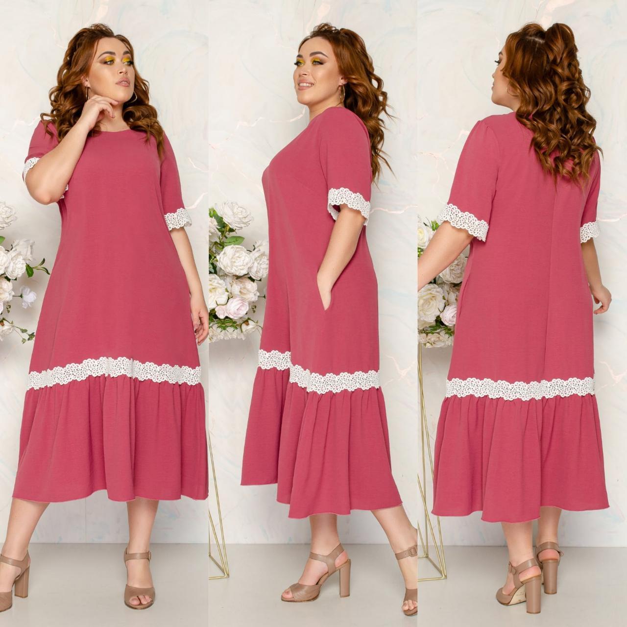 Платье летнее длинное больших размеров с карманами из тонкой ткани жатка, 5 цветов, р.52,54,56,58 код 125Й