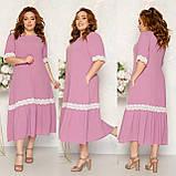 Платье летнее длинное больших размеров с карманами из тонкой ткани жатка, 5 цветов, р.52,54,56,58 код 125Й, фото 5