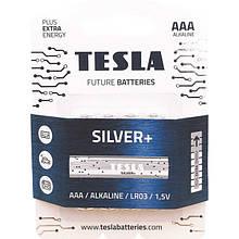 Щелочные батарейки TESLA SILVER+ AAА (LR03) 4 шт.