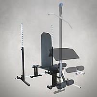 Лавка регульована для жима (до 300 кг) зі Стійками (до 200 кг). Штанги пряма, w-подібна та гантеліі, фото 3