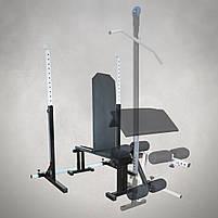 Лавка регульована для жима (до 300 кг) зі Стійками (до 250 кг). Штанги пряма, w-подібна та гантеліі, фото 4