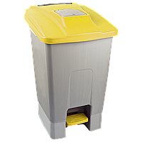 Бак для мусора с педалью Planet 100 л серо-желтый