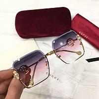 Женские квадратные солнцезащитные очки Gucci реплика розово-фиолетовые, фото 1