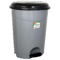 Ведро для мусора с педалью Planet №5 50 л металлик