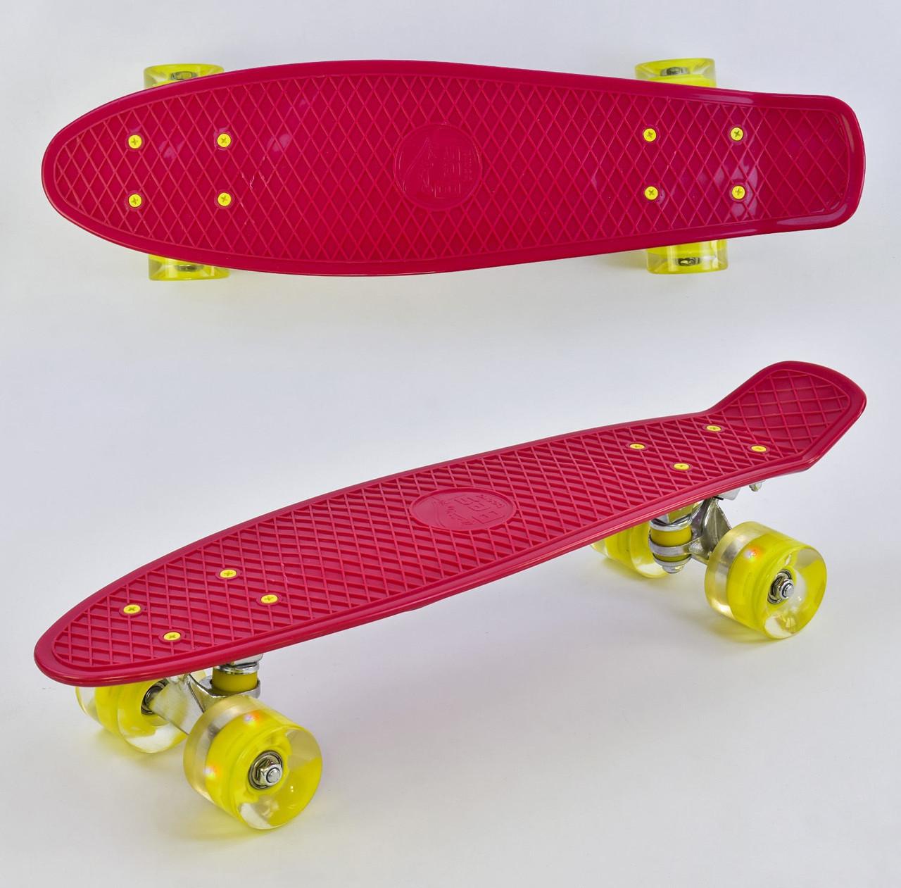 """Пенни борд скейт со светящимися колесами 22"""" Best Board 0220 красный"""